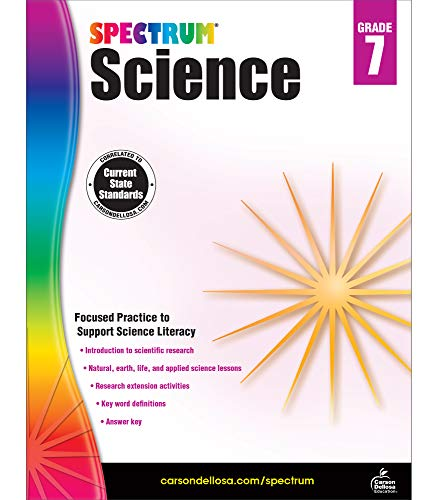 Spectrum Grade 7 Science Workbook—7th Grade State Standards, Scientific Research, Earth and Space Science, Research Activities With Answer Key for Homeschool or Classroom (176 pgs)