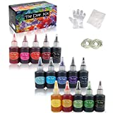 Tie Dye Kit - SERHOM 15 Colors Spray Tie Dye Kits for Adults Kids with Rubber Bands, Gloves, Funnel for Craft Arts Party DIY Handmade