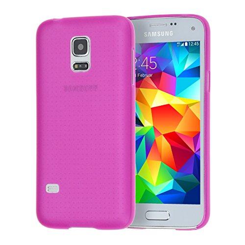 doupi UltraSlim Custodia per Samsung Galaxy S5 Mini, Satinato fine Piuma Facile Mat Semi Trasparente Cover, Pink