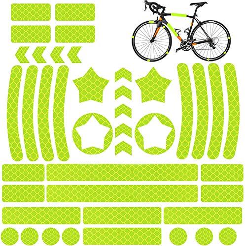 QIMMU 42 Piezas Pegatina Reflectante Bicicleta,Adhesivos Reflectantes Casco,Pegatina Reflectante Bici,Adhesivos Reflectantes para Bicicleta,Cochecito,Casco,Moto