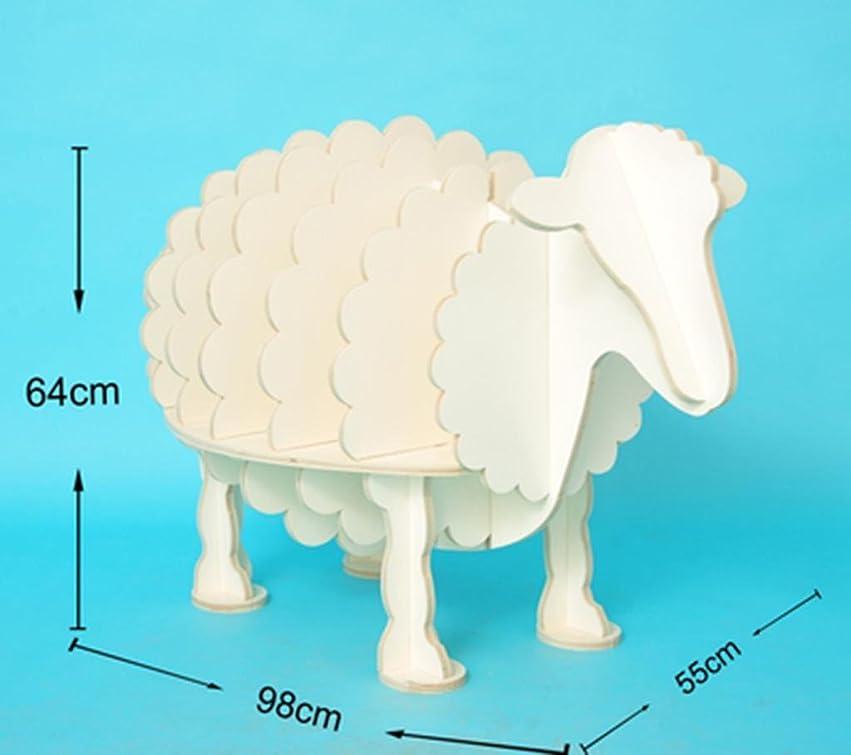 角度無能掃くNatood創造的な本棚羊の本棚動物のモデリングファッションの家の棚リビングルームの装飾木製55 * 98 * 64センチメートル , solid wood white large 0.64 meters high