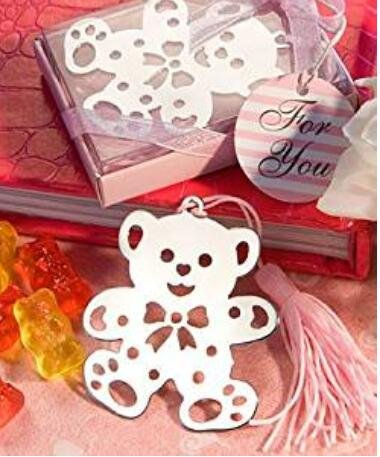 Book Lovers Collection Metal Pink Teddy Bear Bookmark Favors (24)