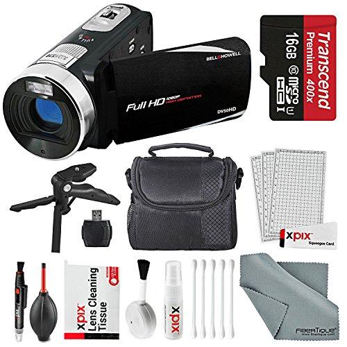 New Bell & Howell Fun Flix DV50HD HD Black Video Camera Camcorder Basic Bundle. Tripod + LED Light +...