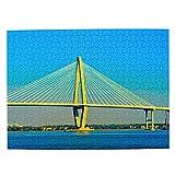Usa America Arthur Ravenel Jr. Bridge Charleston Jigsaw Puzzle 500 piezas para adultos niños de madera regalo recuerdo de viaje 20 x 15 pulgadas (FX06246)