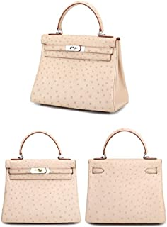 ZXF Apricot Woman Classic Elegant Banquet Birthday Ostrich Leather Lady Handbag Shoulder Messenger Fashion Luxury European American 28 * 13 * 21cm Beautiful and Fashionable Handbag