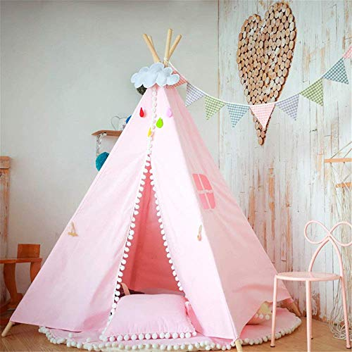 MLL Play Tents For Boys and Girls Children's Room Decoration Foldable Cotton Canvas Teepee Tent Photography Props Indian Playhouse With Window Pocket