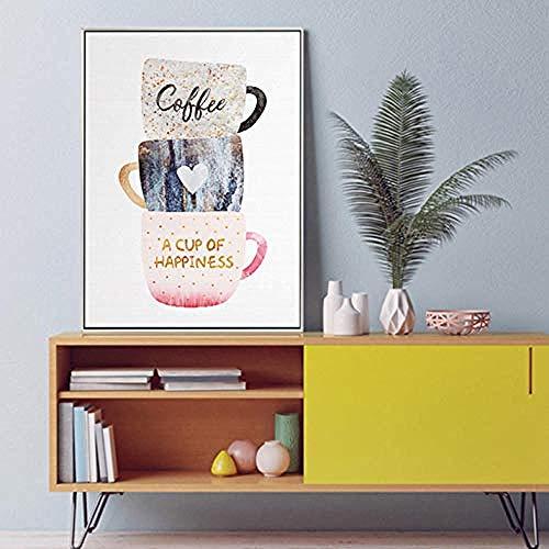 sanjiiNG Cartoon Kaffeetasse Nachmittagstee Leinwand Malerei Poster Drucken Nette Wandkunst für Esszimmer Cafe Hd Bild 60X80 Cm