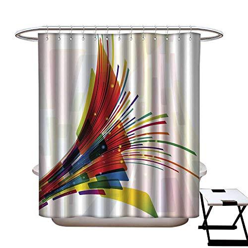 longbuyer Duschvorhang, schimmelresistent, abstrakte Linien, 36 x 72 cm W54