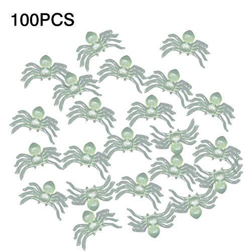 eginvic Leuchtende Spinne, 100PCS Plastik Spinnen Spielzeug Leuchtende Tricky Prank Simulation Dekoration