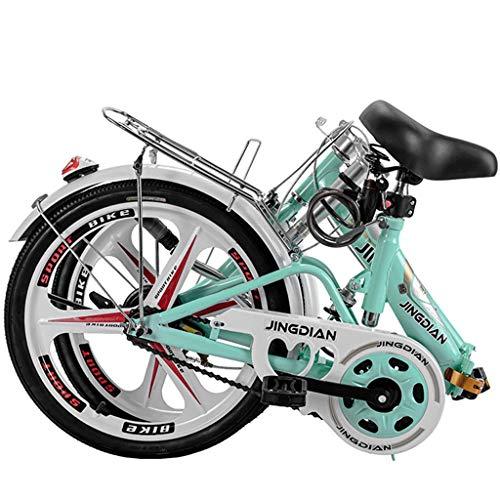 MIKEWEI Bicicleta Plegable de Peso Ligero de una Sola Velocidad portátil City Viajero Femenino de Bicicletas, Verde