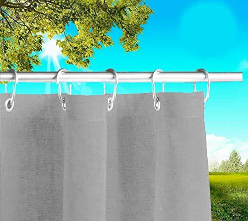 Byour3®️ Balkon Markisen Mit Ringen Sichtschutz - Vertikal Sonnensegel Aus Atmungsaktive Harzbaumwolle Sonnenschutz Terrassen Outdoor Vorhänge Ösen Wasserdichter Stoff (Grau, L.190 X280cm)
