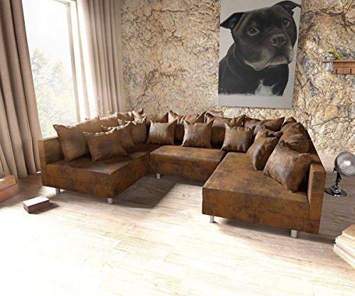 DELIFE Couch Clovis Braun Antik Optik Wohnlandschaft modulares Sofa