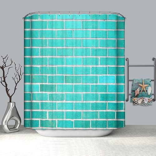 XCBN 3D Ziegel Wand Duschvorhang Geometrische wasserdichte Privatsphäre Duschvorhang Geeignet Für Badezimmer Dekoration A5 180x180cm
