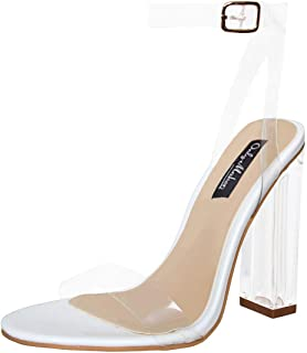 Women's Lucite Clear Ankle Strap Adjustable Buckle Block Chunky Perspex High Heel Transparent Dress Sandals