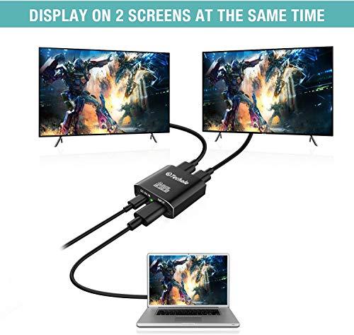 Splitter HDMI 4K,Techole HDMI Switch Aluminium Répartiteur HDMI 1 Entrée 2 Sorties Affichage Simultané, 4K@30HZ 3D UHD 1080P, pour Xbox PS3 PS4 Lecteur Roku Blu-Ray HDTV Apple TV et Plus Appareil