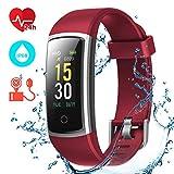 CHEREEKI Montre Connectée, Tracker d'Activité Tension Artérielle Etanche IP68 Smartwatch Sport Écran Coloré avec Moniteur de Sommeil pour iPhone Huawei Samsung Xiaomi Sony (Rouge)