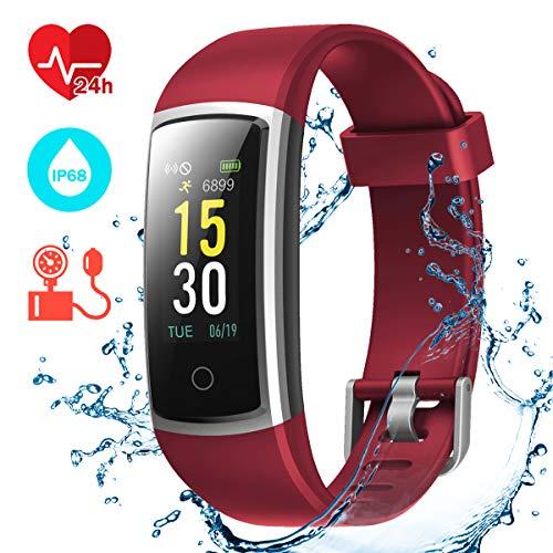 CHEREEKI Pulsera Actividad, Pulsera de Actividad con Monitor Ritmo Cardíaco Medición de la presión Arterial IP68 Podómetro Pulsera Deportiva(14 Actividad Modos) (Rojo)