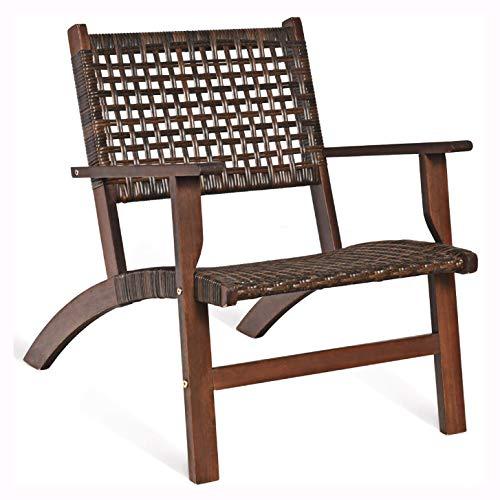 HomyDelight Outdoor Furniture Set, 3PCS Outdoor Wooden Patio Rattan Furniture Set