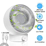 TedGem Mini USB Fan Portable Cooling Fan, Desktop Fan with USB Turbo Fan 180 Kinds of Wind Speed Experience, USB Desktop Fan Can Adjust UP and Down 20°, For Home/Office/Outdoor, USB Powered (White)