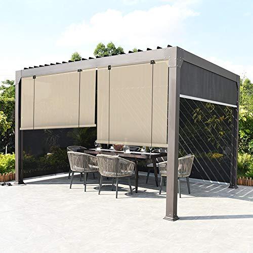 Sombrilla Persianas Enrollables, con Cuerda Visera Solar Cortina De Privacidad 90% Anti-UV para Balcones, Terraza, Persianas Enrollables Exteriores para Pérgola (Color : Beige, Size : 0.6x2.5m)
