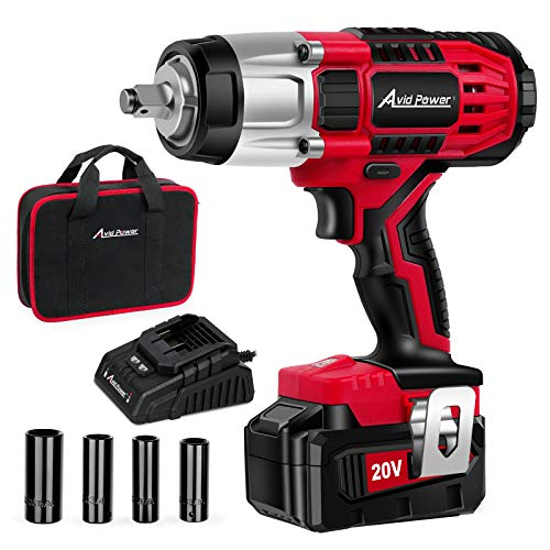 """AVID POWER 20V MAX Cordless Impact Wrench with 1/2""""Chuck, Max Torque 330 ft-lbs (450N.m), 3.0A Li-ion Battery, 4Pcs Drive Impact Sockets, 1 Hour Fast Charger and Tool Bag, Avid Power"""