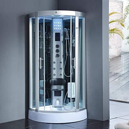 Bagno Italia Cabina de hidromasaje con 6 chorros, 80 x 80 cm, semicircular con Bluetooth, cromoterapia