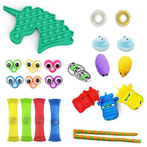 DealMux - Juego de juguetes sensoriales de 22 piezas, terapia sensorial, juguetes, ansiedad, alivio del estrés, regalo para adultos