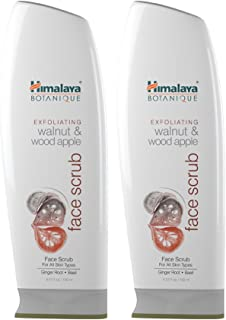 Himalaya Botanique Exfoliating Walnut & Wood Apple Face Scrub for All Skin Types, Free from Parabens, SLS and Phthalates, Facial Scrub & Pore Cleanser with Ginger and Basil, 5.07 oz (150 ml) 2 PACK
