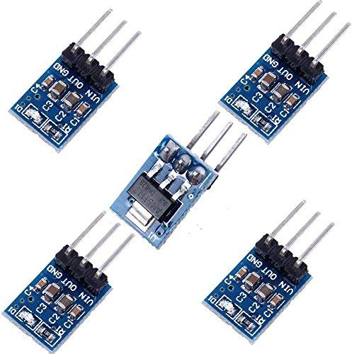ARCELI 5 Pack 3 Pines AMS1117-3.3 DC 4.75V-12V a 3.3V Regulador de Voltaje Bajando la Fuente de alimentación Módulo Buck 800mA