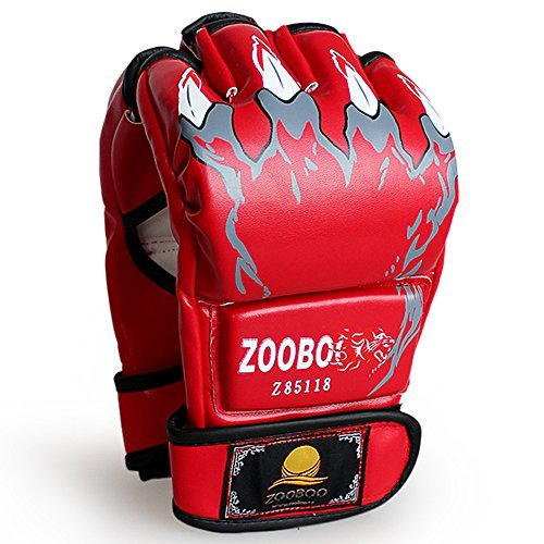 ZooBoo Punching Gloves, Half-Finger Boxing Gloves MMA Mitts with Wrist Band for Sanda Kickboxing Sparring Bag Training (One Size Fits Most)-Red
