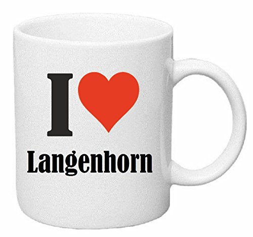 Kaffeetasse I Love Langenhorn Keramik Höhe 9,5cm ? 8cm in Weiß