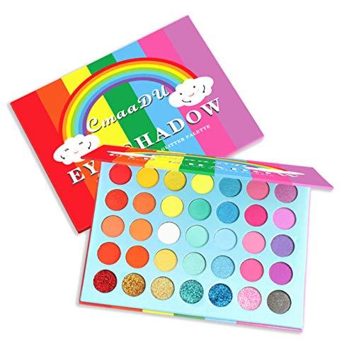 35 Farben Lidschatten-Palette, Regenbogen Matte und Schimmer Hochpigment Lidschatten Wasserdichte langlebige Neon Bunte Augen Kosmetische Make-up-Palette (35 Farben)