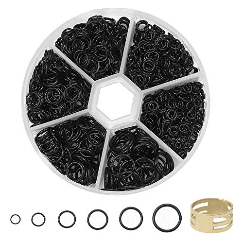 Nigaga Super Strong Metal Open Jump Rings 4mm 5mm 6mm 7mm 8mm 10mm Set with Box and Golden Jump Ring Opener for DIY Jewelry Making and Necklace Repair (Black)