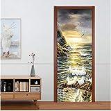 Pegatinas de papel tapiz para puerta, estilo europeo, pintura al óleo del mar, paisaje, murales de fotos, papel tapiz, sala de estar, dormitorio, adhesivo creativo para puerta, papel de pared 3D