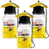 SEWANTA Victor M380 [Set of 3] Reusable Outdoor Fly Traps 32 oz - Fly Magnet Bait Trap - Made in USA - Bundled with 3 Bait Refills and 3 Hanging Chains