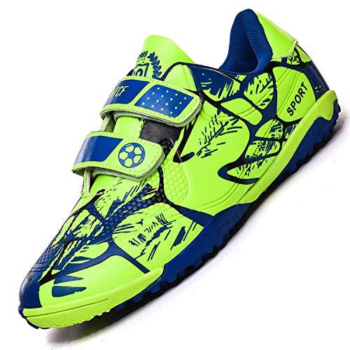 Unitysow Botas de Fútbol Niños Aire libre deporte Cesped Artificial Zapatillas de Futbol Adolescentes Training Zapatos de Fútbo,Verde,34 EU