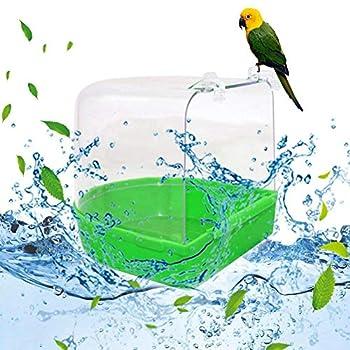 MoMo Honey Baignoire pour Perroquets, Boîte De Douche pour Oiseau De Compagnie Suspendue à l'espace De Lavage Transparent pour Cage De Perruche pour Oiseaux Cockatiel Blanc