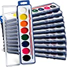 Watercolor Paint Set (Pack Of 12) 8 Water Color Washable Paints, Palette Tray and Painting Brush, for Art Party Favors, Kids Prizes, Stocking Stuffers and Paint Party Supplies