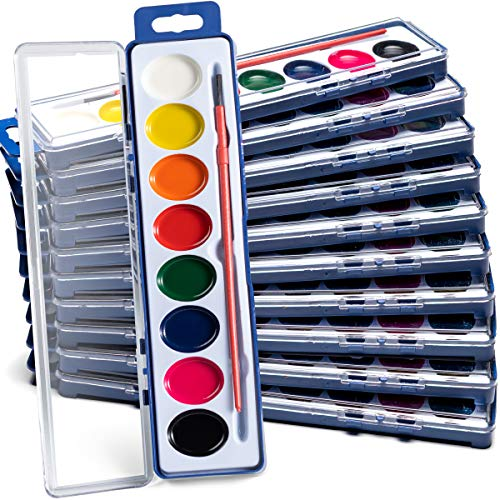 Bedwina Watercolor Paint Set (Pack of 12) 8 Water Color Washable Paints, Palette Tray and Painting Brush, for Art Party Favors, Kids Prizes, Stocking Stuffers and Paint Party Supplies