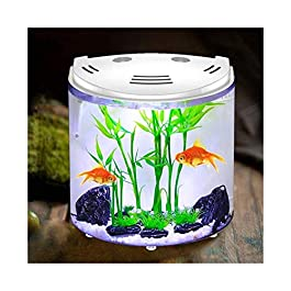Desktop Fish Tank Aquarium Living Room Water Fountain TV Cabinet Small Ornaments Ceramic Fountain Desktop Creative Fish Tank (Size:200 * 140 * 210mm)