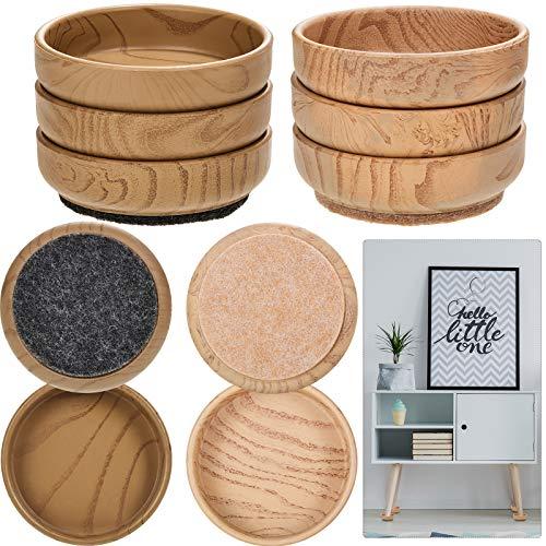 Filz Boden Schutzkappen 6 cm/ 2,4 Zoll Runde Möbel Filz Rollen Rutschfester Bodenschutz für Stuhlbeinen Möbel (Beige, Dunkelbraun, 8 Stücke)