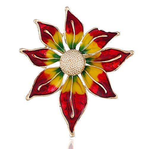 I-Light-T Flor de Europa y América de Navidad en Tres Dimensiones Broche de joyería Retro Broche Collar de Girasol Aceite de Gota de la aleación día de Navidad Broche