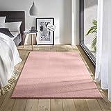 Teppich Wölkchen Waschbarer Teppich mit Anit-Rutsch I Flauschiger Kurzflor für Badezimmer, Kinderzimmer oder Flur Läufer I Einfarbig, Schadstoffgeprüft, Allergikergeeignet | Rosa - 60 x 120