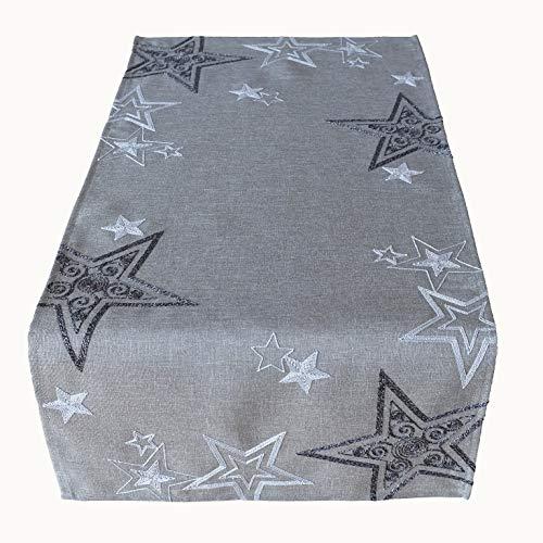 Raebel OHG Tischläufer Stickerei Sterne Schneesterne Mitteldecke Weihnachten Deko Weihnachtstischdecke (grau-Silber, 40 x 85 cm)