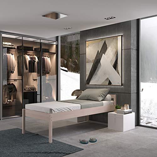 Seniorenbett 100x200 cm Anu Scandi Style aus hartem FSC Birken Vollholz mit Rollrost - über 700 kg - Holzbett 55 cm hoch mit Kopfteil - Stabiles Einzelbett für Senioren
