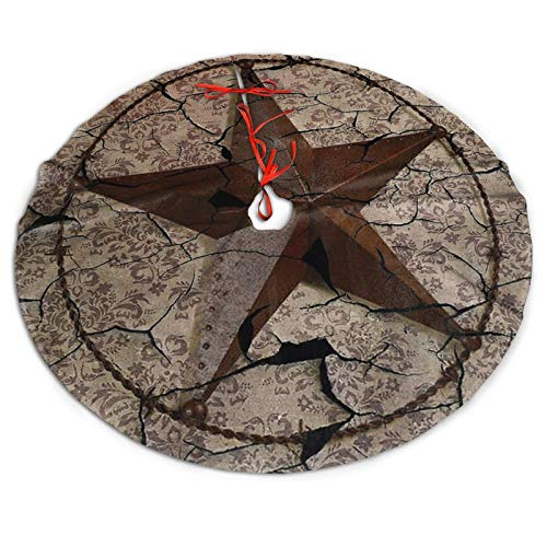 Taottao Vintage Rustic Western Country Texas Lone Star Christmas Tree Skirt Xmas Tree Skirt Christmas Decorations for Xmas Festive Holiday Ornament New Year Party
