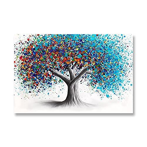 DIY Pintar por números Cuadro abstracto del arte del minimalismo de la pintada del árbol colorido de la pintura del paisaje pintura digital pintura al óleo Con pincel y p40x60cm(Sin marco)