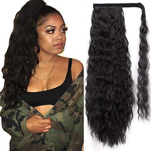 Morningsilkwig Afro Ponytail 20inch Lange Afro Kinky Lockly Wave Ponytail synthetische Haarstücke Band Drawstring Clip auf Pferdeschwanz Haarverlängerungen falsche Haare für Frauen