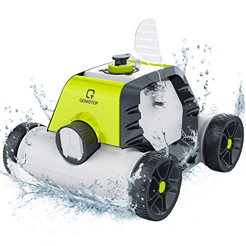 OT QOMOTOP Robotic Pool Cleaner, Rechargeable Cordless Design, 90 Mins Working Time, IPX8 Waterproof, Power Detection Technology, Built-in Water Sensor Technology, Green