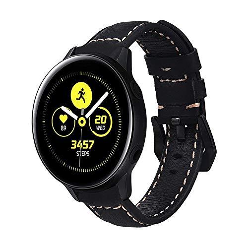 Pulseira de Couro BK para Samsung Galaxy Watch Active 40mm - Gear S2 Classic - Gear Sport R600 - Galaxy Watch 42mm - Preto - Marca Ltimports